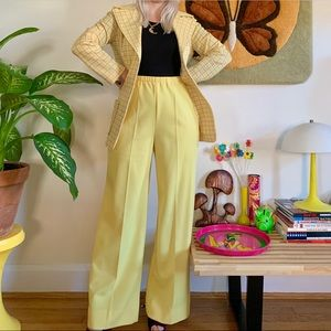 Vintage 70s plaid pantsuit coordinating set S-M
